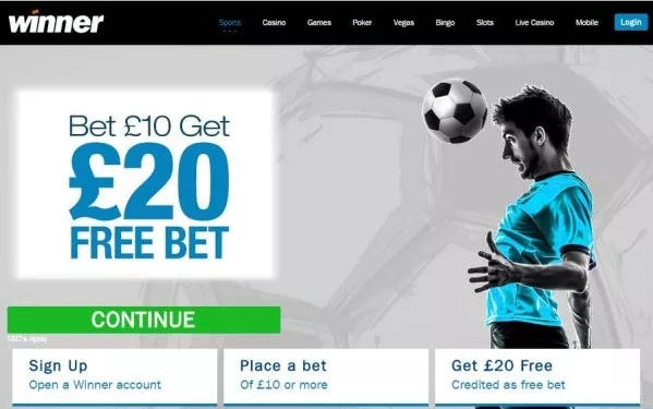 Winner.com £20 Free Bet offer