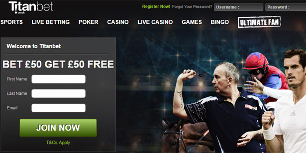 Titanbet £50 Free Bet offer