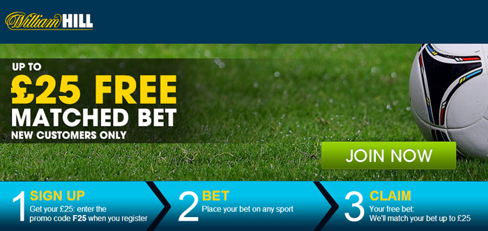 William Hill £25 free bet offer